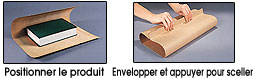 Instructions: Placez le produit, emballez et pressez pour sceller