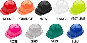 Casques de sécurité : jaune, blanc, rose, rouge, lime, orange, feuille d'érable et bleu