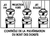 Contrôle du vaporisateur du bout des doigts: lame d'eau, douche, jet puissant